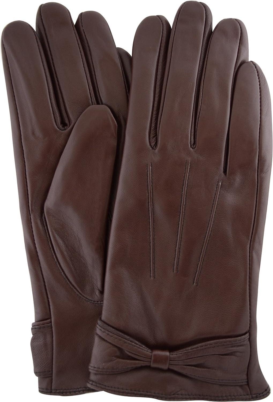 Ladies Butter Soft Preminum Leather Glove with bow & 3 Point Stitch design - Brown - Medium (7