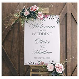 Wedding Reception Sign, White Wedding Banner, Welcome to Our Wedding, Wedding Party Banner, Wedding Party Signs, Custom Wedding Sign, Handmade Party Supply Poster Print, Size 24x18, 36x24 and 48x36