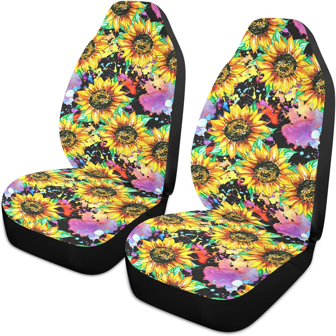 Spasm price Oarencol Sunflower Car Seat Covers Flowers Yellow Max 84% OFF Vintage Waterc