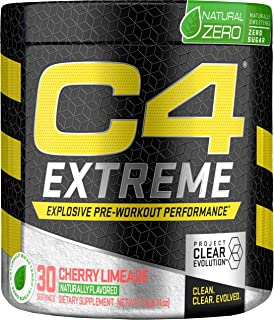 C4 Extreme Natural Zero Pre Workout Powder Cherry Limade | Natural Flavored Sugar Free Preworkout Energy Supplement for Men & Women | 200mg Caffeine + Beta Alanine + Creatine | 30 Servings