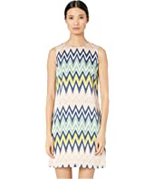 M Missoni - Sleeveless Shift Silk Dress in Zigzag Print