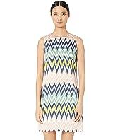 M Missoni - Sleeveless Shift Silk Dress in Zigzag Print
