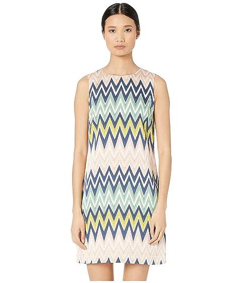 M Missoni Sleeveless Shift Silk Dress in Zigzag Print