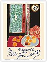 Nice, France - Travail et Joie (Work and Joy) - Nature Morte aux Grenades (Still Life with Pomegranates) - Vintage World Travel Poster by Henri Matisse c.1948 - Master Art Print - 9in x 12in