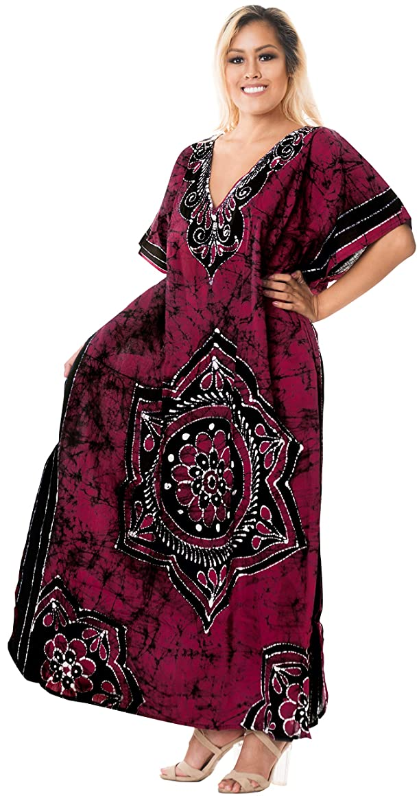 LA LEELA Cotton Batik 04 Women's Caftan Kimono Nightgown Cover up Dress
