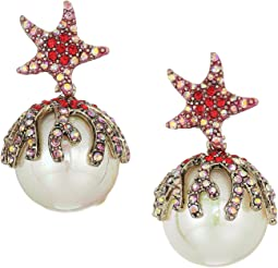 Starfish Pearl Drop Earrings
