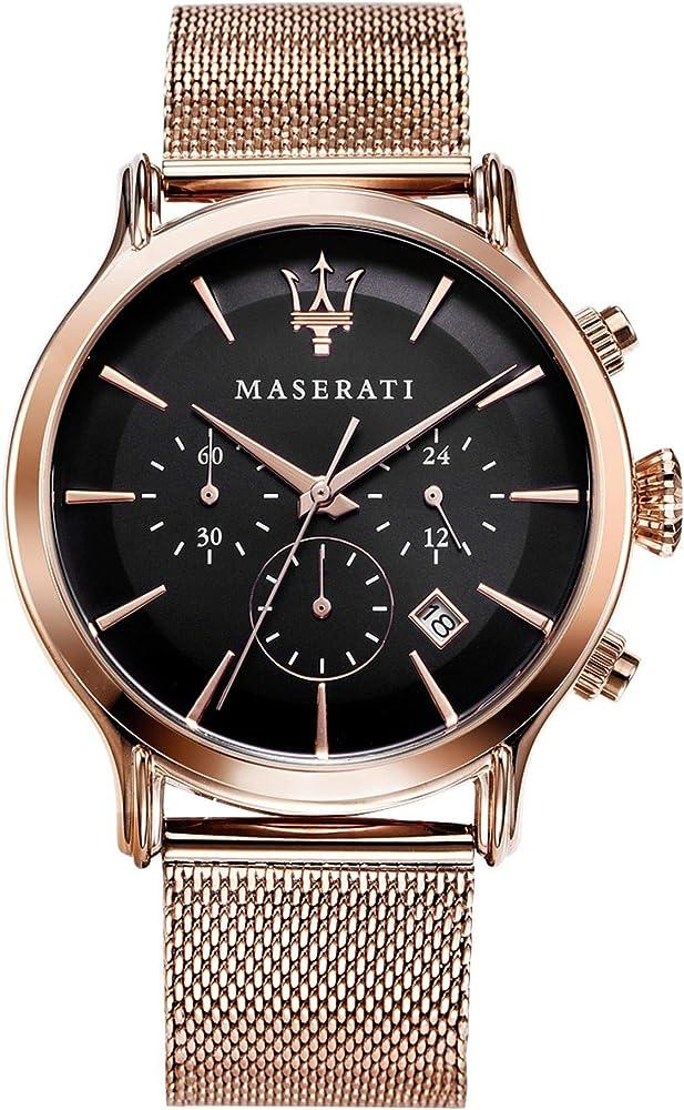 Maserati orologio cronografo  da uomo, collezione epoca  in acciaio e pvd oro rosa 8033288766643