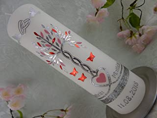 Hochzeitskerze Jubiläumskerze Herzen Tauben rosa