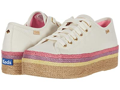 Keds x kate spade new york Triple Up Neon Raffia (Natural Multi Canvas) Women