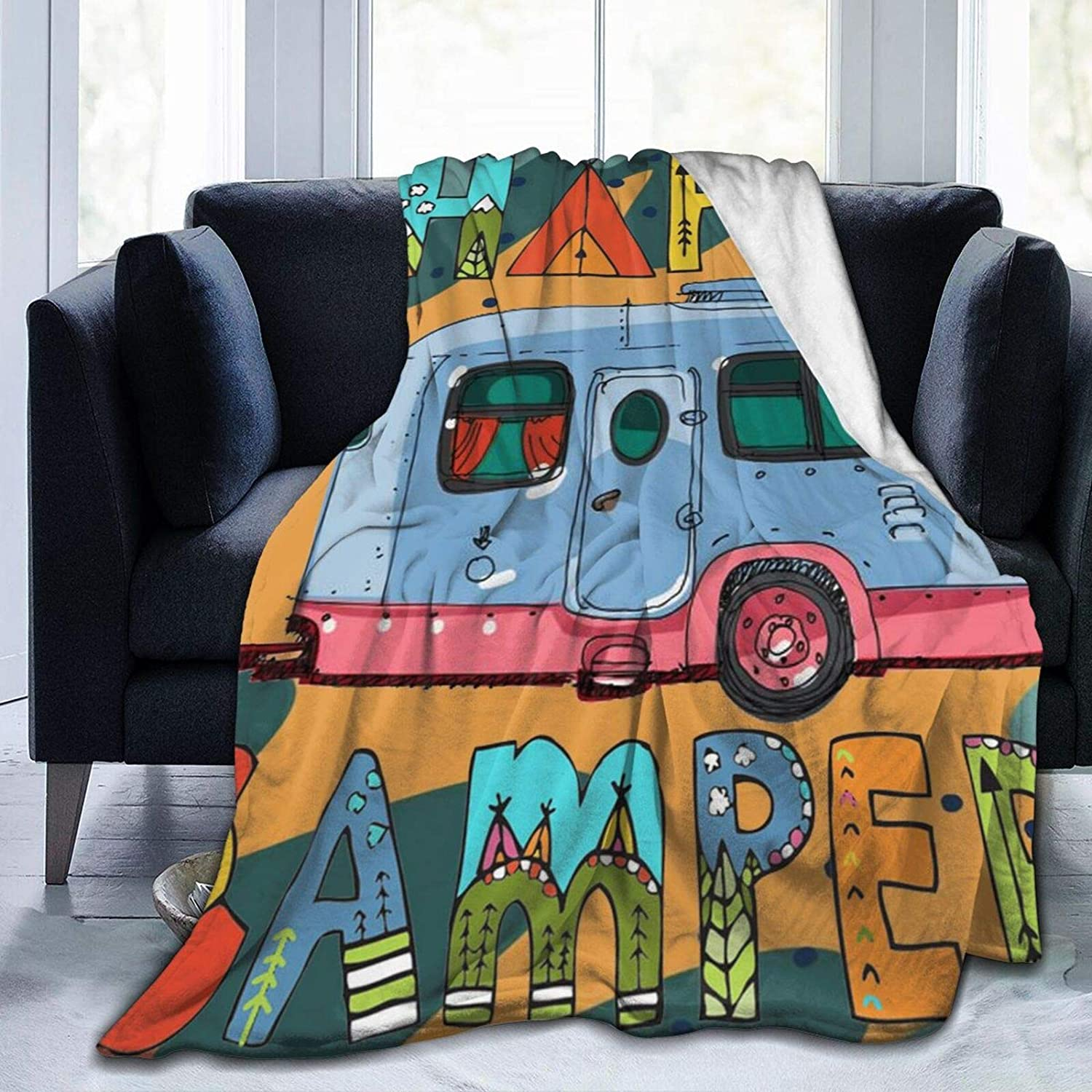AUISS Throw Blanket Happy Long-awaited Camper Thermal Fleece Bl Plush In stock