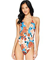 Spanish Bloom Plunge One-Piece Swimsuit