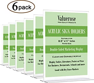 VALUEROSE Acrylic Sign Holder 8.5 x 11, Plastic Paper Display Stand, Menu Brochure Flyer Stand, Clear Document Holder, Table Top Double Sided Picture Frame (6 Pack)