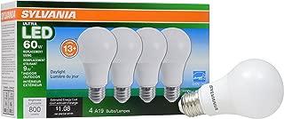 SYLVANIA General Lighting 78040 Sylvania Dimmable Led Light Bulb, 9 W, 120 V, 800 Lumens, 5000 K, CRI 80, 2.375 in Dia X 4.19 in L, 4 Piece