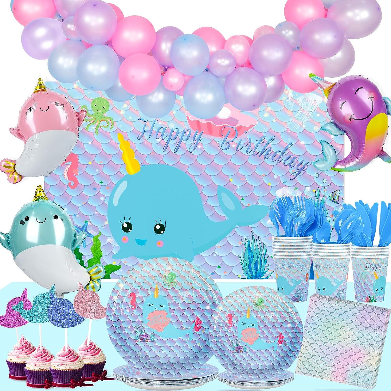 Juego de 218 piezas de Narwhal suministros de fiesta, vajilla Narwhal, platos, servilletas, vasos, cubiertos, ballena, unicornio del océano, globos para magdalenas para cumpleaños de niñas, sirve 16