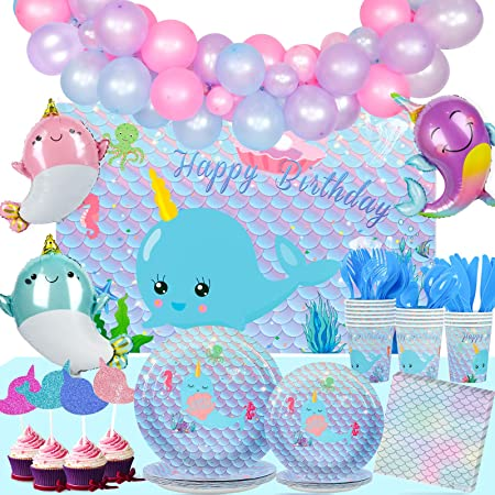 Amazon Com Narwhal Party Supplies And Decorations Narwhal Party Plates And Napkins Cups For 16 People Includes Narwhal Birthday Banner Tablecloth And Centerpiece Perfect Narwhal Birthday Party Decorations And Narwhal