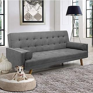 Pawnova FabricTuftedSplitBackSofaBed,Grey Sofabed, 75.60x26.80x15.50