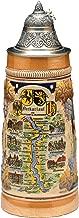 Beer Steins by King - Rhine (Rhein) River Landmarks Relief Beer Stein (Beer Mug) Limited Edition