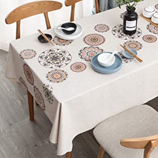 LEEVAN Vinyl Tablecloth Heavy Weight PVC Rectangle Table Cover 100% Waterproof Oil-Proof Stain-Resistant Table Cloth for I...