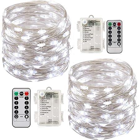 2 x10m Guirlande LED Lumineuse à Pile 100 LEDs Fonction Minuterie avec Télécommande IP65 Etanche Décoration intérieur et extérieur pour Noël Mariage Soirée Maison Jardin (Blanc)