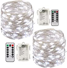 Led String Lights Battery Powered,[2 Pack] Fairy String Lights Battery Operated Waterproof 8 Modes 100 LED 33ft with Remot...