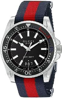 Gucci - YA136210- Reloj con movimiento de cuarzo para hombre, correa de nilon, color azul y rojo