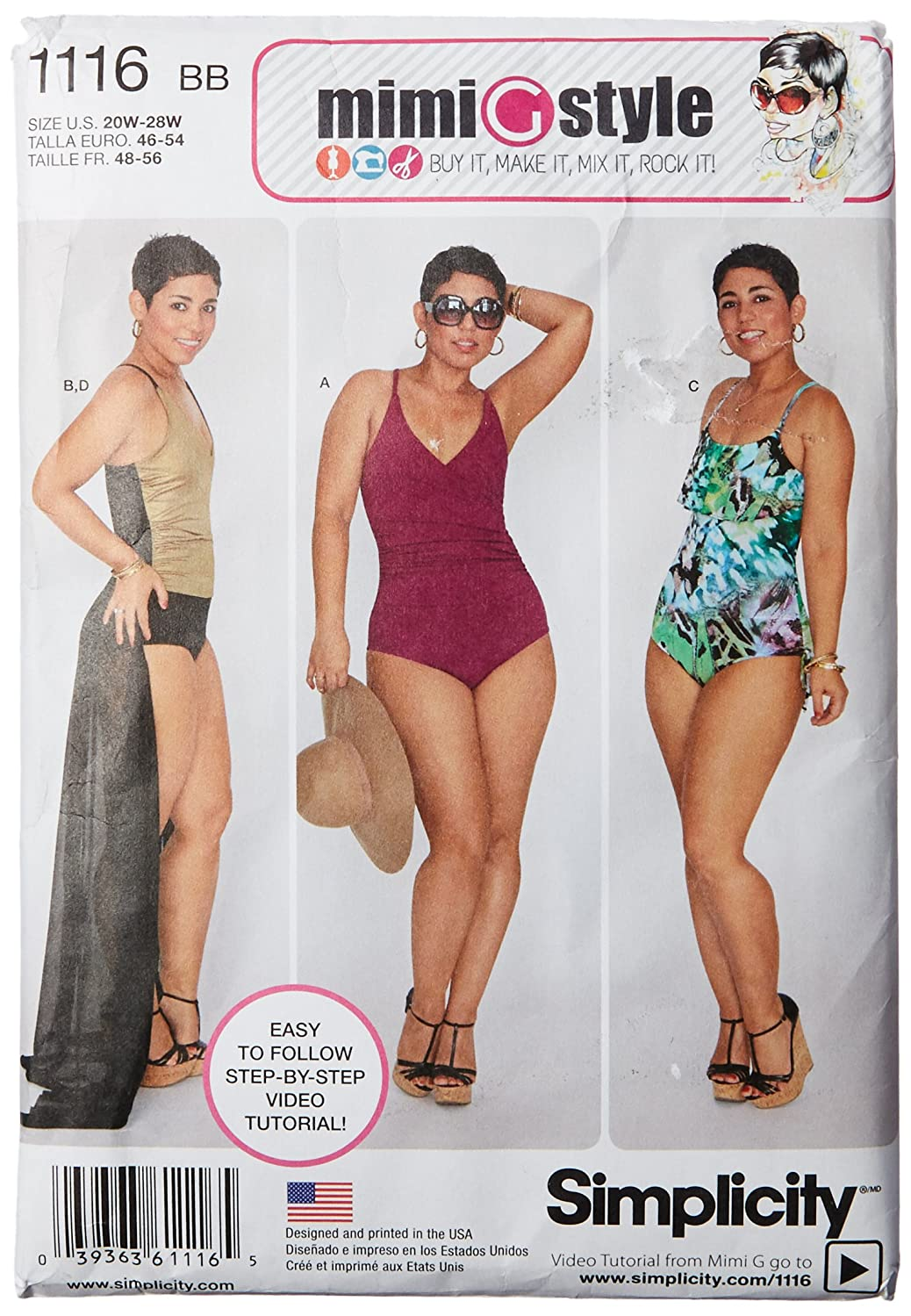 Simplicity Mimi Style Pattern 1116 Women's Swimsuits and Wrap Skirt Sizes 20W-28W