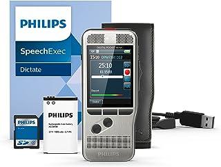 Philips DPM7200 Digitales Diktiergerät Aufnahmegerät, Bedienung per Schiebeschalter, 2 Mikrofone für ausgez. Stereo Tonaufnahmen, Farbdisplay, Edelstahlgehäuse, inkl. Diktiersoftware SpeechExec 10