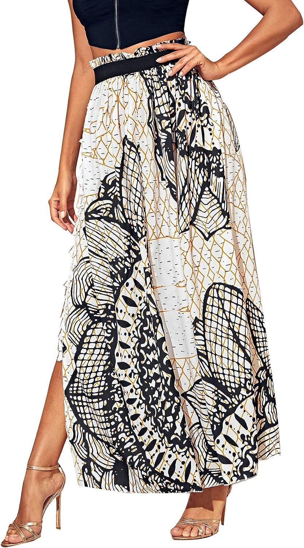 SheIn Women's Summer Boho Floral Print Fringe Split Thigh Full Length Maxi Skirt