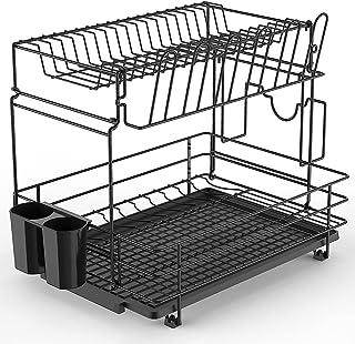 Dish Drying Rack, Auledio Dish Organizer 2 Tier Dish Drain with Utensil Holder, Cutting Board Holder, Cup Holder, Dish Rac...