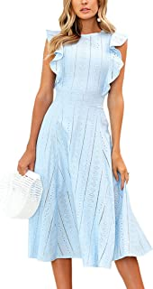 Womens Dresses Elegant Ruffles Cap Sleeves Summer A-Line Midi Dress