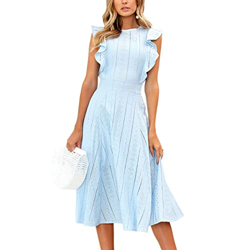 059488181b ECOWISH Womens Dresses Elegant Ruffles Cap Sleeves Summer A-Line Midi Dress