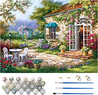 DIY Oil Painting Kits, 40 * 50cm Canvas (Without Frame), 3Pcs Paintbrushes and 24 Colors Pigment, Painting by Numbers for ...