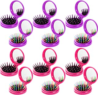 12 Pieces Round Travel Hair Brush with Mirror Folding Pocket Hairbrush with Make up Mirror Travel Hair Comb for Women Girls Travel Daily Use Purse Gift Idea (Purple,  Rose Red)