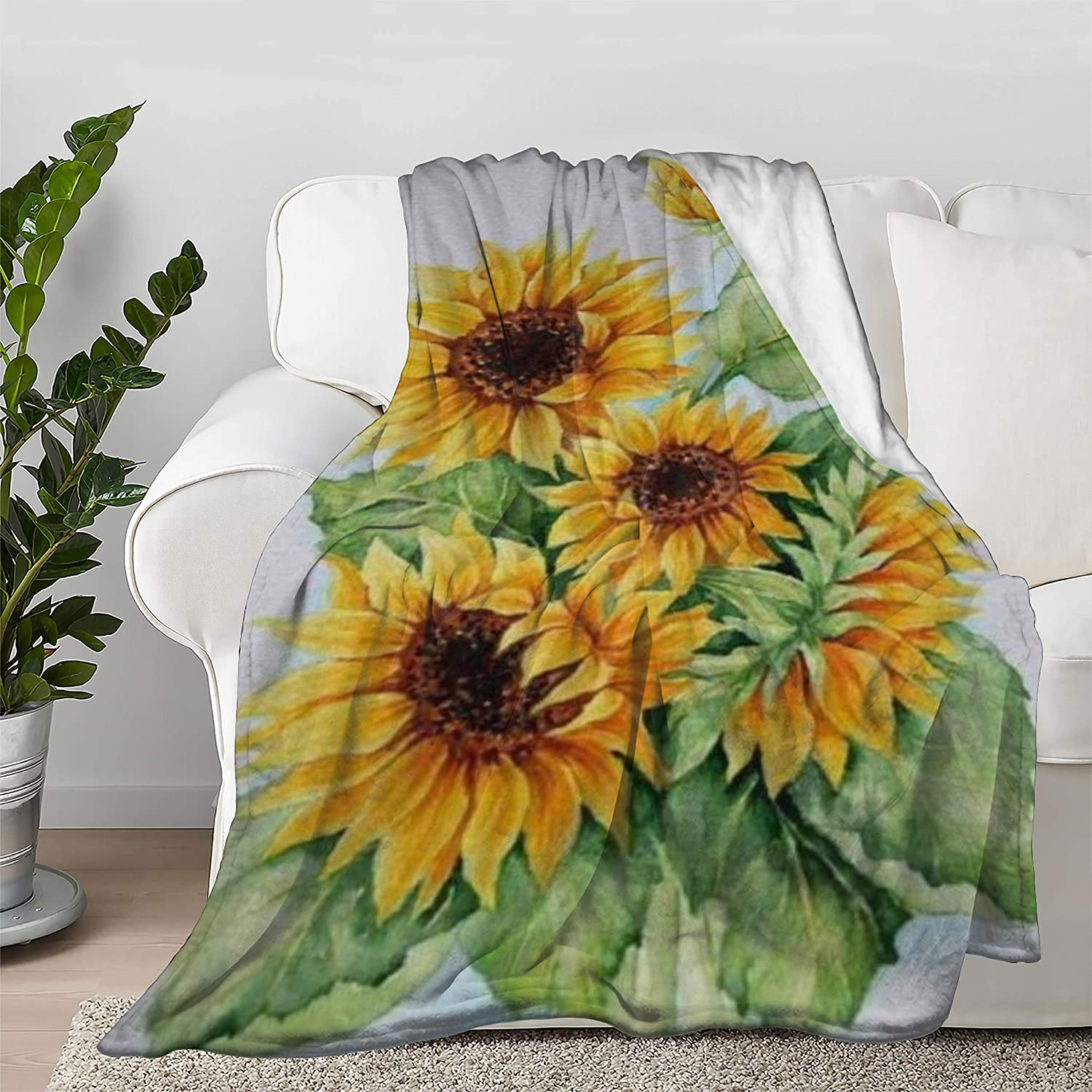 Multi-Styles Sunflower Art Oil Ranking TOP5 Painting Soft Blanket Flannel Bed Large discharge sale