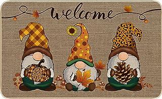 Patelai Autumn Welcome Decorative Doormat Gnome Mat Non Slip and Washable Sunflower Pumpkin Doormat Rubber Back Door Mat f...
