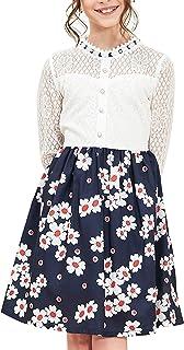 Sunny Fashion Girls Dress Lace Pearl Plum Blossom Elegant Princess Dress Size 7-14 Years