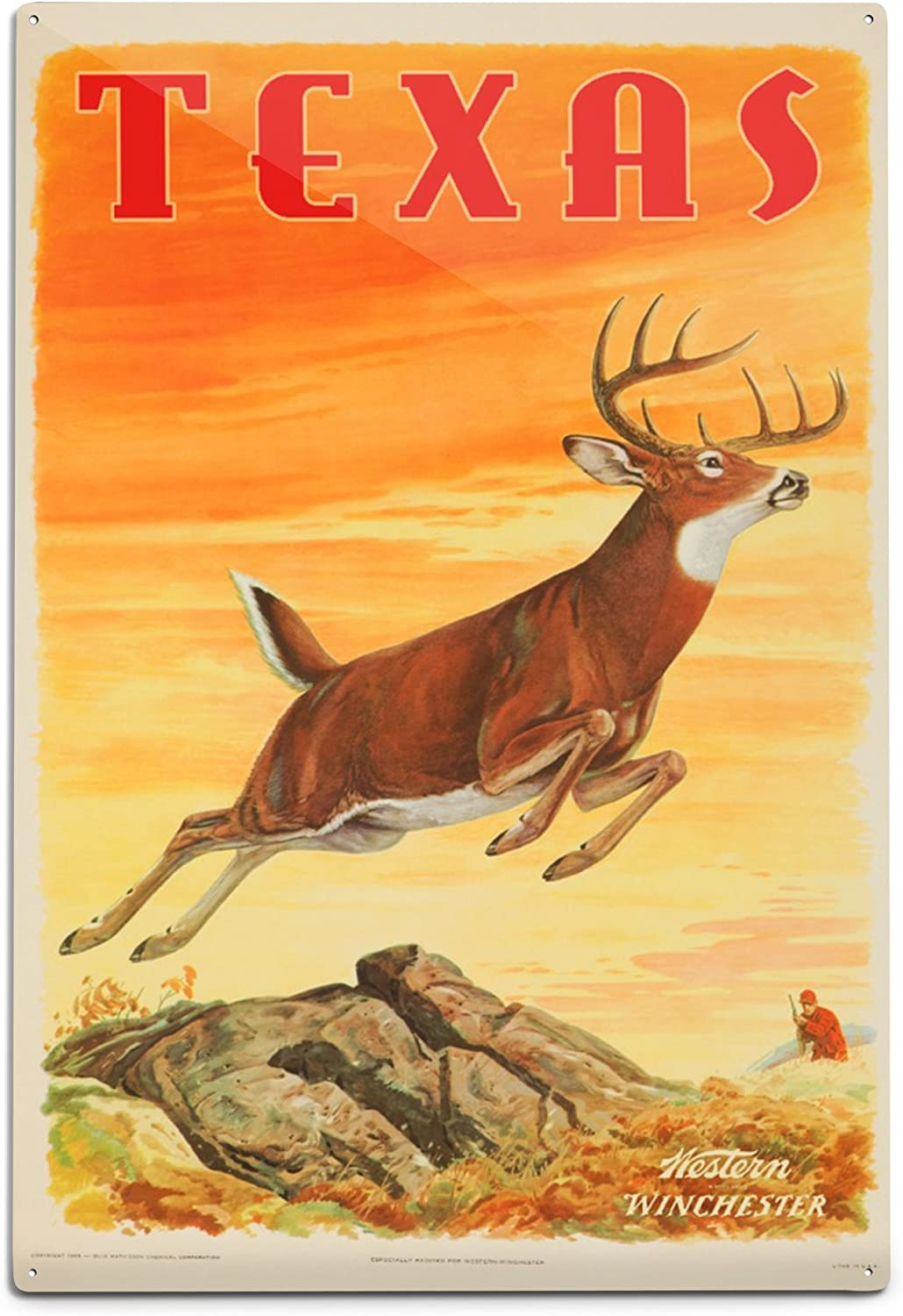 Texas Western Winchester Deer Vintage Poster Artist Pursell And Woods Usa C 1955 12x18 Art Print Wall Decor Travel Poster Posters Prints