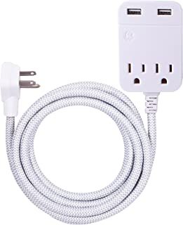 GE Pro Designer, 10 Ft Braided Extension Cord, Charging Station, Surge Protector Power Strip, Flat Plug, 3 prong, 2 Outlets, 2 USB Ports, 2.4 Amp, 12 Watt, 250 Joules, Wall Mount, 38432