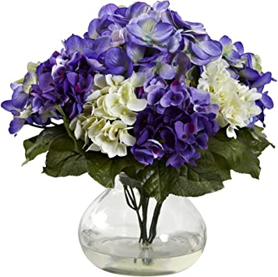 Nearly Natural 1364-BP Mixed Hydrangea with Vase Blue, Purple