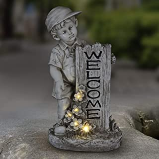 Exhart Solar Boy w/Welcome Sign Garden Statue for Outdoor Decor | Solar Powered LED Light Flowers Statue for Garden, Lawn ...