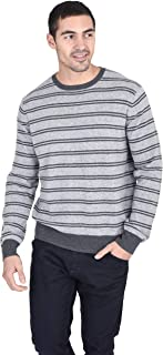 Men's Relaxed Fit Striped Crewneck Sweater Cashmere Merino Wool Long Sleeve Casual Pullover