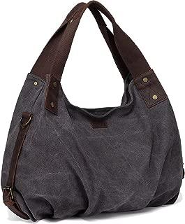 Canvas Hobo Bag,VASCHY Vintage Large Leather Canvas Tote Handbag for Women Top Handle Work Bag with Detachable Shoulder Strap