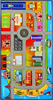 Kids Rug Play mat for Toy Cars, Colorful and Fun Play Rugs with Roads for Bedroom and Kidrooms,Car Rug to Have Fun on,Area Rug Mat with Non-Slip Backing,Car Mat Great for Playing with Cars and Toys