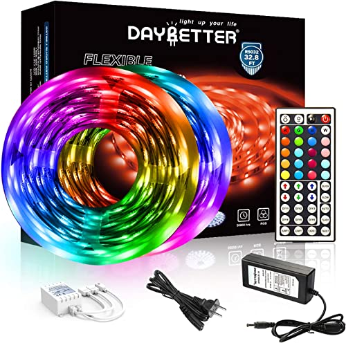DAYBETTER Led Strip Lights 32.8ft 5050 RGB LEDs Color Changing Lights Strip for Bedroom, Desk, Home Decoration, with ...
