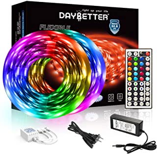 DAYBETTER Led Strip Lights 32.8ft 5050 RGB LEDs Color...