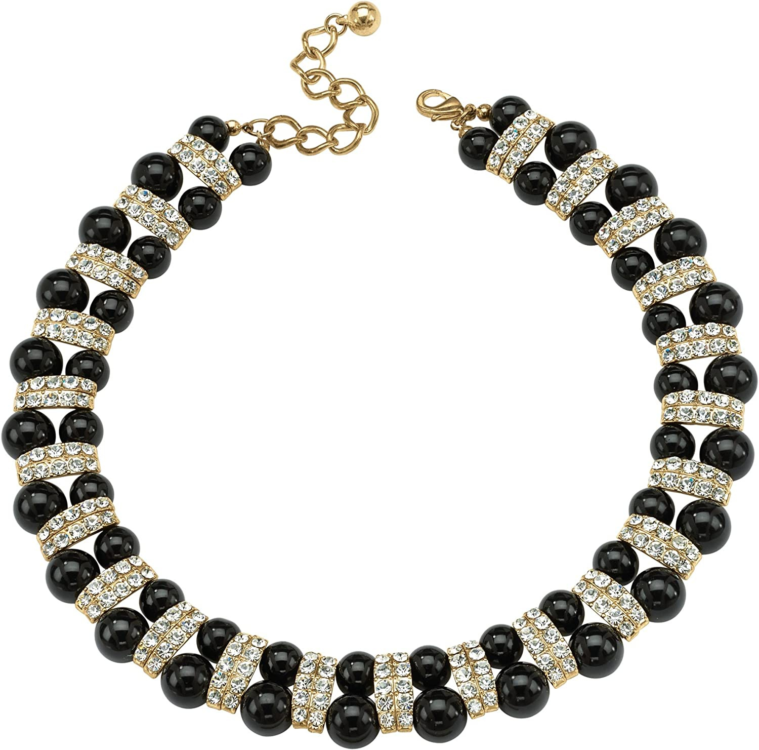 Palm Beach Jewelry Goldtone Round Crystal and Black Lucite Beaded Collar Necklace (22mm), Lobster Claw Clasp, 18 inch Adjustable