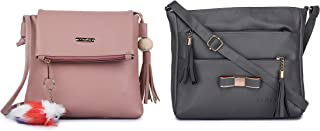 GLOSSY Women's Sling Bag with Key chain (Pink & Grey)