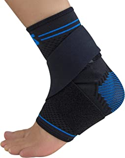 Zensah Elite Gel Sports Compression Ankle Sleeve with Removable Strap - Breathable, Lightweight, Anti-Odor, Premium Fabric, Comfortable