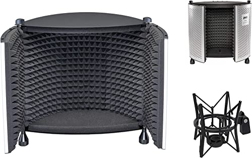 wholesale LyxPro Vocal Booth 50 Portable Acoustic Isolation Instrument Shield, Sound high quality Absorbing, Reflection Panel discount with Condenser Anti Vibration Spider Microphone Shockmount Kit online sale