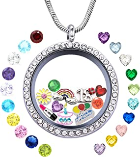 JOLIN Birthday Gifts Her, Floating Living Memory Locket Necklace Pendant Charms & Birthstones 13th 15th Sweet 16 18th 21st 30th